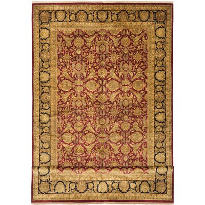 Sultanabad Hand-Knotted Dark Red Area Rug