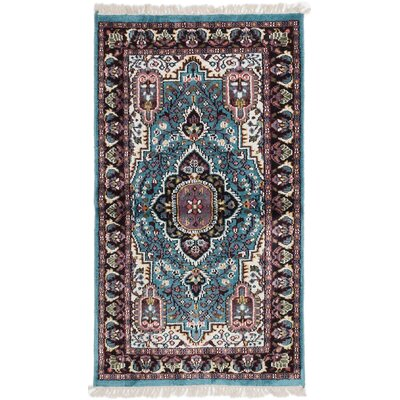 Kashmir Kerman Hand-Knotted Weak Cyan Area Rug