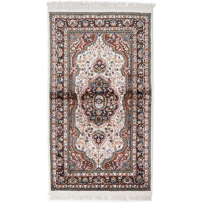Kashmir Kerman Hand-Knotted Cream Area Rug