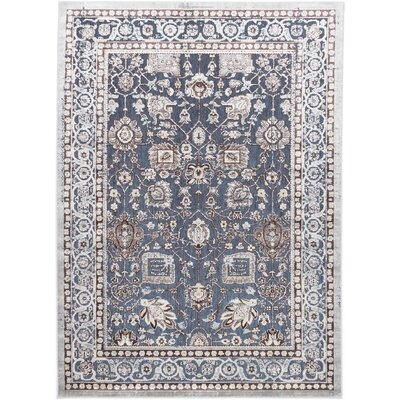 Cream/Pale Cyan Area Rug Rug Size: 58 x 710