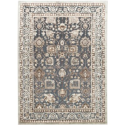 Cream/Pale Cyan Area Rug Rug Size: 47 x 67
