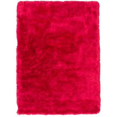 Hand-Tufted Red Aa Rug Rug Size: 49 x 65