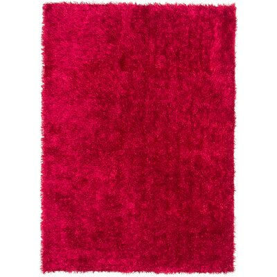 Hand-Tufted Red Aa Rug Rug Size: 57 x 710