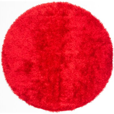 Hand-Tufted Red Aa Rug Rug Size: Round 66 x 66