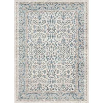 Ziegler Cream/Turquoise Area Rug Rug Size: Rectangle 5 x 7