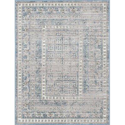 Paradis Navy/Gray Area Rug Rug Size: 41 x 57