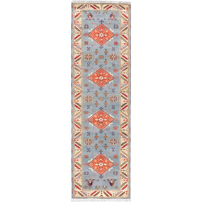 Kazak Hand-Knotted Grey Area Rug