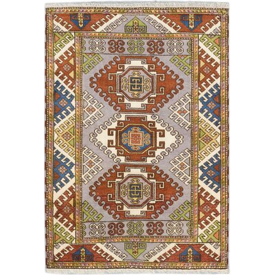 Kazak Hand-Knotted Gray Area Rug