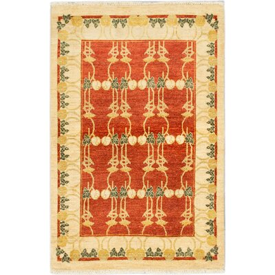 One-of-a-Kind Peshawar Ziegler Hand-Knotted Ivory and Red Area Rug