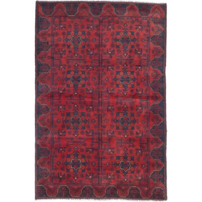 One-of-a-Kind Bridges Hand-Knotted Geometric Red Indoor Area Rug