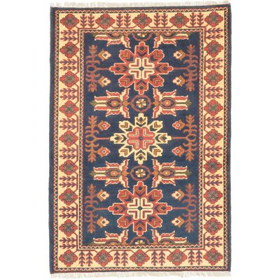 One-of-a-Kind Kargahi Hand-Knotted Blue Area Rug
