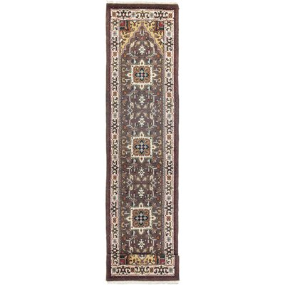 Heriz Hand-Knotted Brown Area Rug