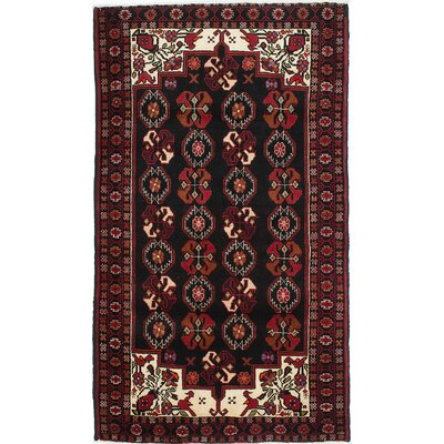 Baluch Hand-Knotted Black Area Rug