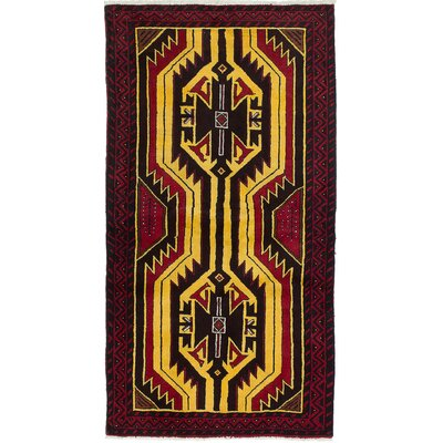 One-of-a-Kind Bilbo Hand-Knotted Red and Yellow Area Rug