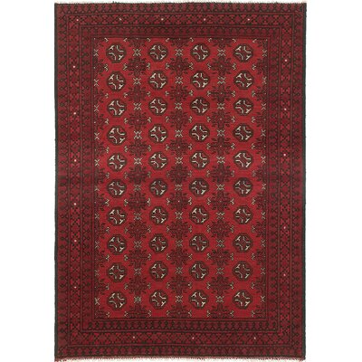 One-of-a-Kind Bridges Traditional Hand-Knotted Geometric Rectangle Red Area Rug