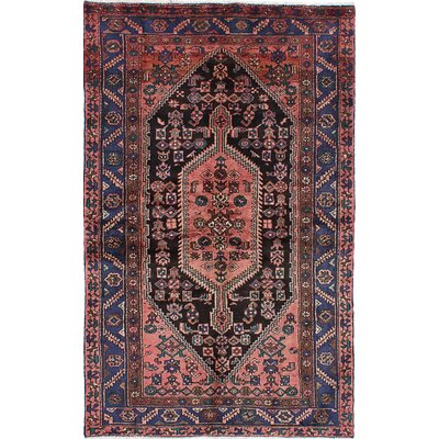 Hamadan Persian Hand-Knotted Blue Area Rug