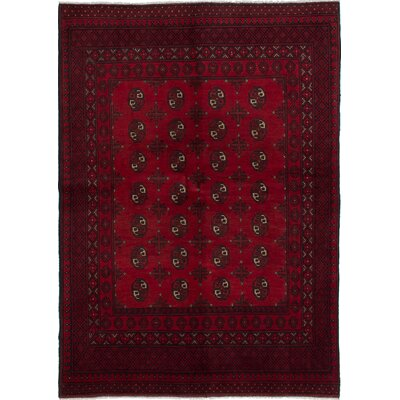 Bourkel Hand-Knotted Red Area Rug