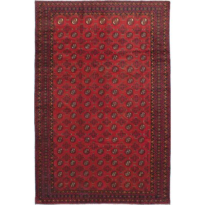 Bridges Hand-Knotted Geometric Rectangle Wool Red Area Rug