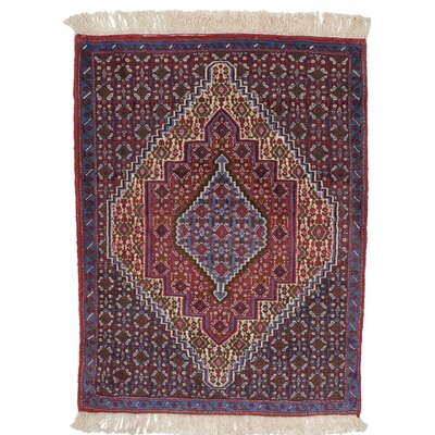 One-of-a-Kind Senneh Persian Hand-Knotted Blue Area Rug