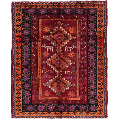 Koliai Persian Hand-Knotted Red Area Rug