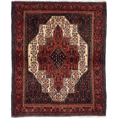 One-of-a-Kind Senneh Persian Hand-Knotted Red and Blue Area Rug