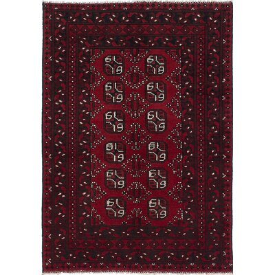 Bridges Traditional Hand-Knotted Geometric Red Indoor Area Rug
