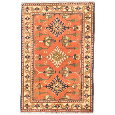 Finest Kargahi Hand-Knotted Dark Copper/Light Gold Area Rug