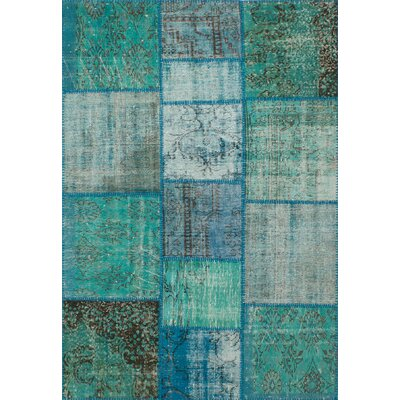 Hand-Knotted Teal Area Rug