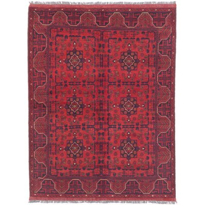 Bridges Traditional Hand-Knotted Oriental Red Indoor Area Rug