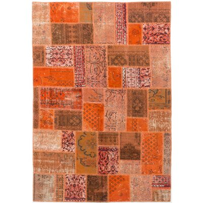 One-of-a-Kind Hand-Knotted Dark Orange Area Rug