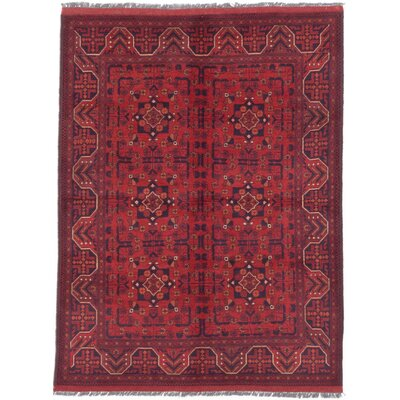 Bridges Traditional Hand-Knotted Oriental Rectangle Red Indoor Area Rug
