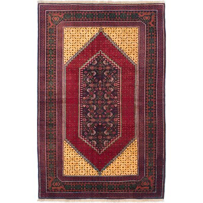 One-of-a-Kind Ghafkazi Hand-Knotted Dark Navy Blue/Red Area Rug