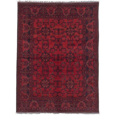 One-of-a-Kind Bridges Hand-Knotted Red Oriental Rectangle Red Indoor Area Rug