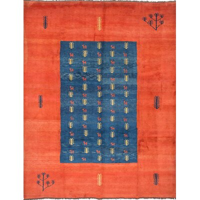 Persian Gabbeh Hand-Knotted Blue/Orange Area Rug