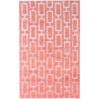 Dearth Hand-Knotted Gray Area Rug Rug Size: 5 x 8