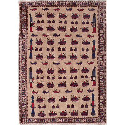 Rizbaft Hand-Knotted Red/Tan Area Rug
