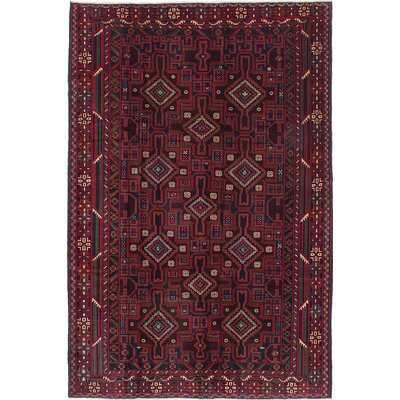 One-of-a-Kind Finest Ingham Hand-Knotted Black/Dark Red Area Rug