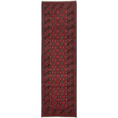 Bridges Hand-Knotted Runner Red Indoor Area Rug