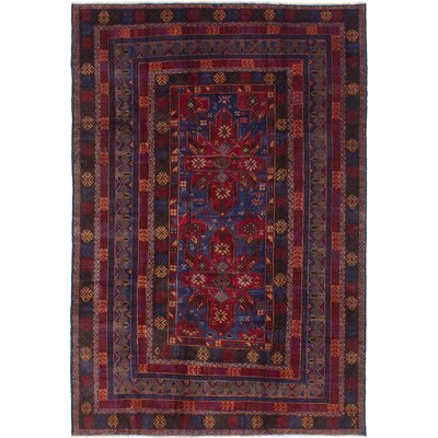Finest Rizbaft Hand-Knotted Navy Blue/Red Area Rug