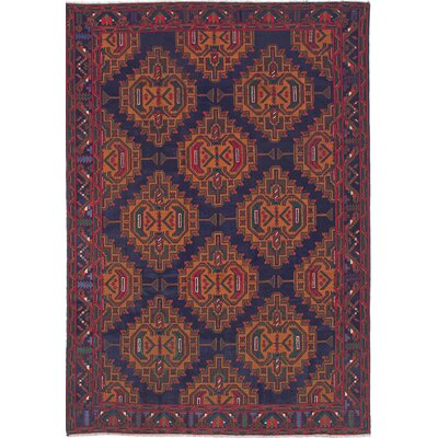 Finest Rizbaft Hand-Knotted Light Brown/Navy Blue Area Rug