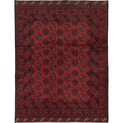 Bridges Traditional Hand-Knotted Oriental Wool Red Indoor Area Rug