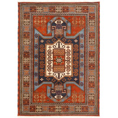 Berkshire Hand-Knotted Navy/Orange Area Rug