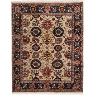 Royal Mahal Hand-Knotted Black/Beige Area Rug