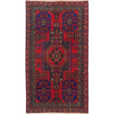 Ghafkazi Hand-Knotted Navy/Red Area Rug