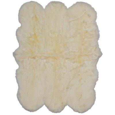 Luxurious Hand Woven Sheepskin Ivory Area Rug Rug Size: Novelty 46 x 52