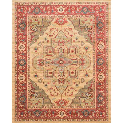 Ziegler Light Gold/Red Area Rug Rug Size: 8 x 10