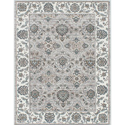 Paradis Cream/Gray Area Rug Rug Size: 53 x 77