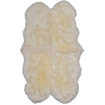 Luxurious Handmade White Area Rug Rug Size: 52 x 3