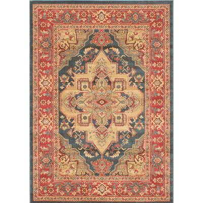 Ziegler Navy/Red Area Rug Rug Size: 5 x 7