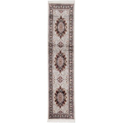Kashmir Hand-Knotted White/Black  Area Rug